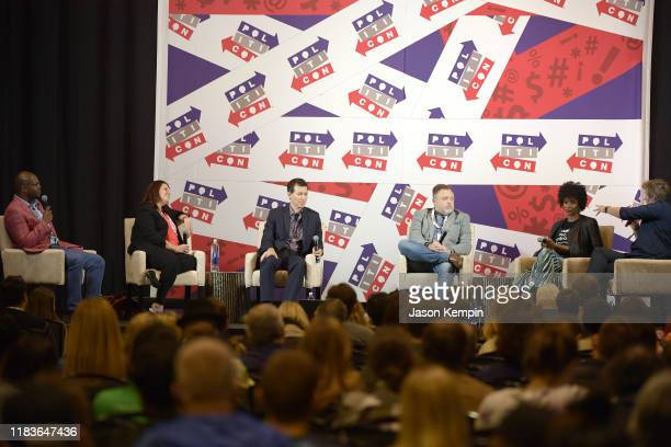Dr Jason Johnson Ana Navarro Allan Piper Tim Wise Zerlina Maxwell and Sally Kohn speak onstage during the 2019 Politicon at Music City Center on...