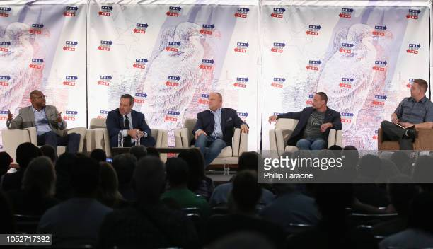 Dr Jason Johnson David Frum David Urban Dan Bongino and Dr Vince Houghton speak onstage during Politicon 2018 at Los Angeles Convention Center on...