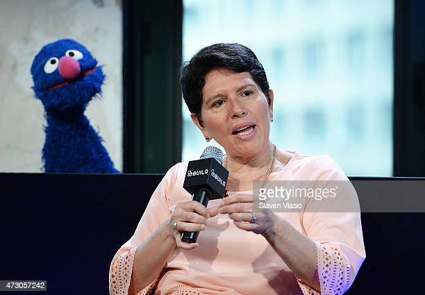 Dr Jeanette Betancourt of the USO attends AOL Build Speaker Series 'Sesame Street's Grover And The USO Dr Jeanette Betancourt And Rachel Tischler' at...