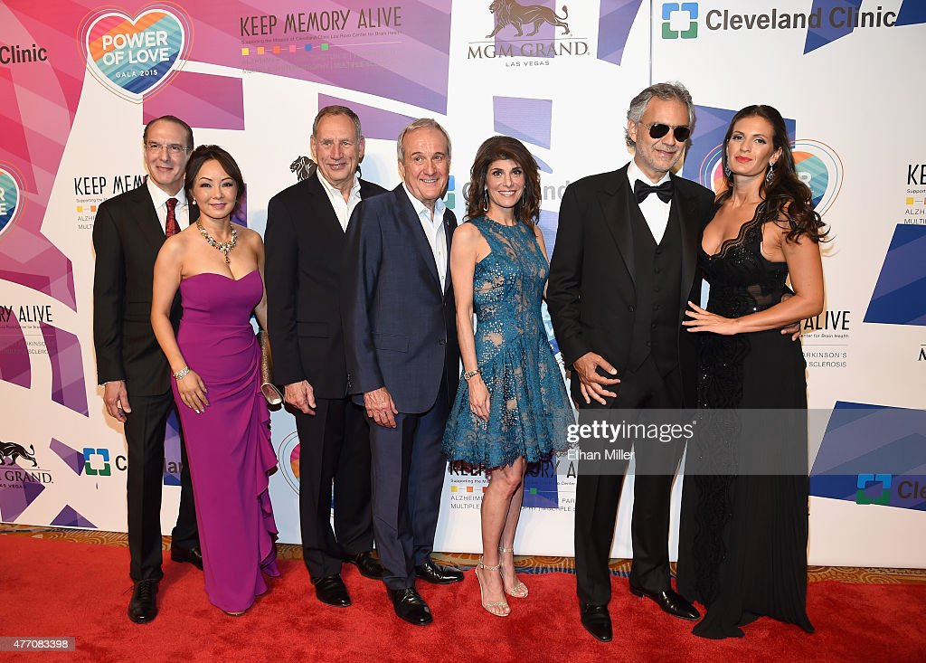 Dr. Jeffrey Cummings and Dr. Kate Zong from Cleveland Clinic Lou Ruvo Center for Brain Health, Cleveland Clinic CEO Dr. Toby Cosgrove, Keep Memory Alive Founder Larry Ruvo, Keep Memory Alive Co-Founder and Vice-Chairman Camille Ruvo and honorees Andrea Bocelli and Veronica Bocelli attend the 19th annual Keep Memory Alive 'Power of Love Gala' benefit for the Cleveland Clinic Lou Ruvo Center for Brain Health honoring Andrea Bocelli and Veronica Bocelli at MGM Grand Garden Arena on June 13, 2015 in Las Vegas, Nevada.