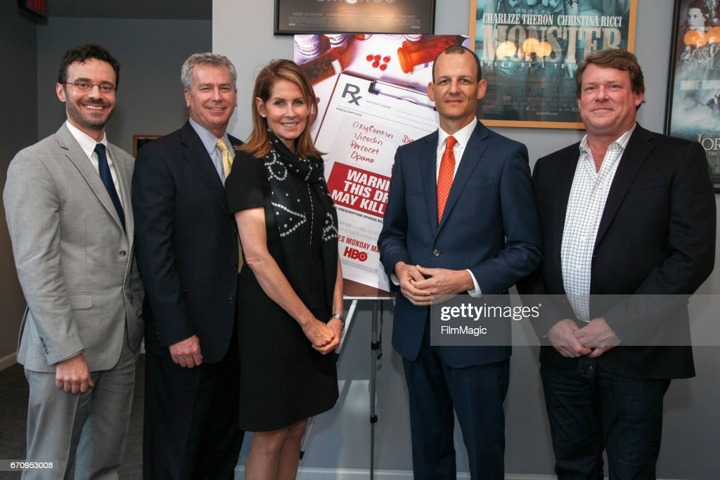 Dr. Jeffrey Devido, KPIX CBS Anchor Allen Martin, filmmaker Perri Peltz, State Assemblymember Kevin McCarty, and film subject Britt Doyle pose for a photo during the San Francisco premiere of 'Warning: This Drug May Kill You' on April 20, 2017 in San Francisco, California.