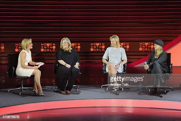 Dr Jennifer Ashton Vanessa Noel Dr Holly Andersen and Barbra Streisand speak on stage during the Women in the World Summit held In New York on April...