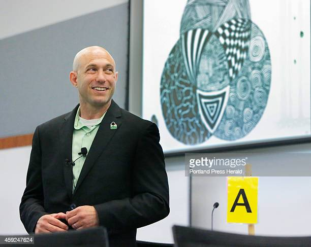 Dr Jeremy Richman talks with students and faculty at the University of New England in Biddeford on Tuesday August 12 2014 Dr Richman's daughter...