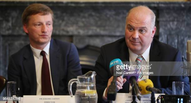 Dr Jerome Coffey and Chief Medical Officer Dr Tony Holohan from the Health Service Executive clinical expert panel during a press conference to...
