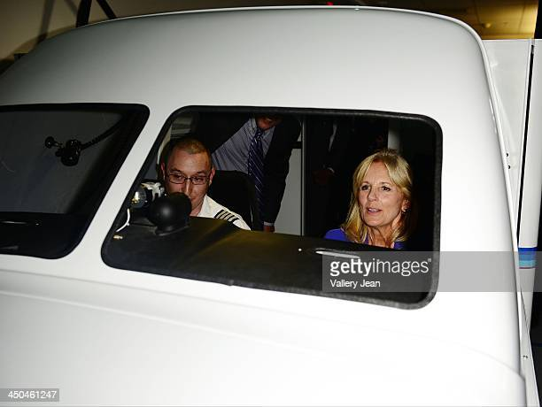 Dr Jill Biden and flight instructor Brian Gascoine visits Broward College Aviation Institute and addresses a group of educators to discuss the recent...