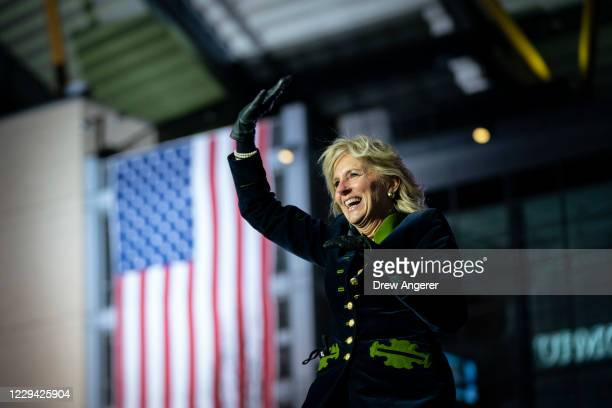 Dr. Jill Biden arrives to speak in support of her husband Democratic presidential nominee Joe Biden during a drive-in campaign rally at Heinz Field...
