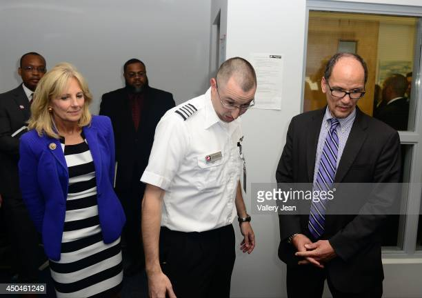 Dr Jill Biden flight instuctor Brian Gascoine and Secretary of Labor Thomas Perez visits Broward College Aviation Institute and addresses a group of...