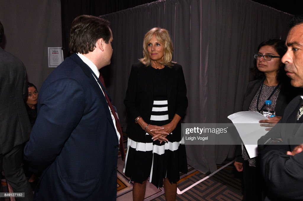 Dr. Jill Biden, Former Second Lady of the United States, and Chair of The Biden Foundation prepares backstage at The 2017 Concordia Annual Summit at Grand Hyatt New York on September 18, 2017 in New York City.