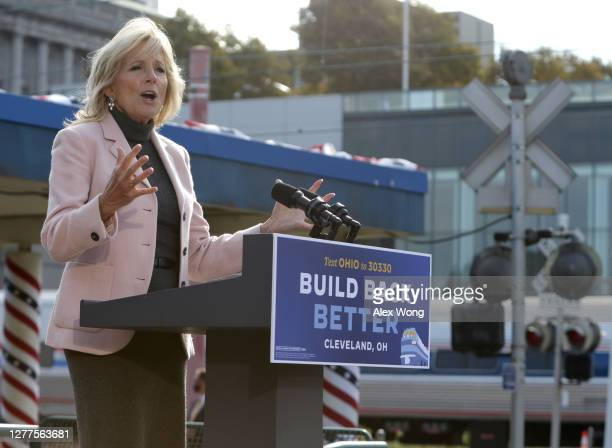 Dr. Jill Biden introduces her huDemocratic U.S. Presidential nominee Joe Biden speaks during a campaign event to launch a train campaign tour at...