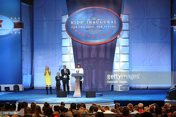 Dr Jill Biden Jalen Frankel JR Martinez and First Lady Michelle Obama attend the 2013 Kids' Inaugural Our Children Our Future on January 19 2013 in...