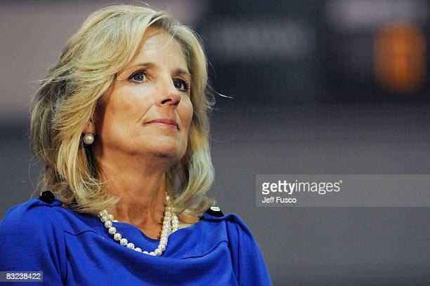 Dr Jill Biden listens in at a rally in support of Democratic presidential nomineee US Sen Barack Obama October 12 2008 in Scranton Pennsylvania