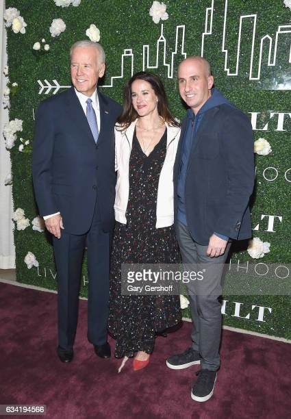 Dr Jill Biden Livelihood founder Ashley Biden and former Vice President Joe Biden attend Gilt x Livelihood launch event at Spring Place on February 7...