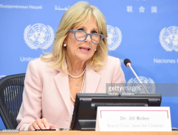 Dr Jill Biden takes part in the Stolen Childhood Report Launch Press Briefing at United Nations Headquarters on May 31 2017 in New York City There is...