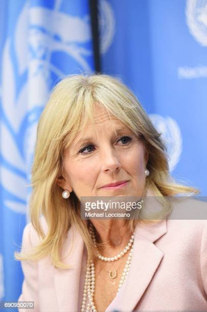 Dr. Jill Biden takes part in the Stolen Childhood Report Launch & Press Briefing at United Nations Headquarters on May 31, 2017 in New York City....