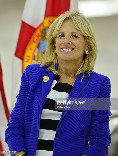 Dr. Jill Biden visits Broward College Aviation Institute and addresses a group of educators to discuss the recent selection of Broward College to...
