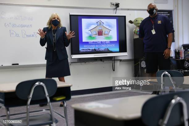 Dr. Jill Biden, wife of Democratic presidential candidate former Vice President Joe Biden, visits an empty classroom at Evan G. Shortlidge Academy on...