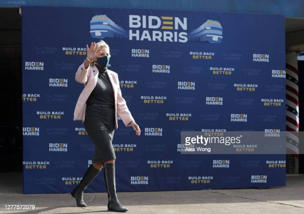 Dr. Jill Biden, wife of Democratic presidential nominee Joe Biden, arrives to launch a train campaign tour at Cleveland Amtrak Station September 30,...