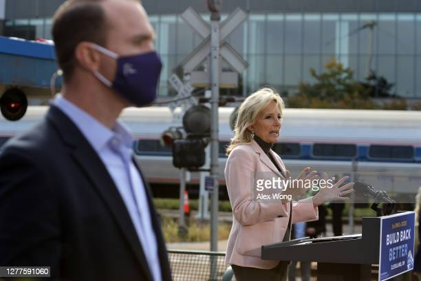 Dr. Jill Biden, wife of Democratic U.S. Presidential nominee Joe Biden, speaks during a campaign event to launch a train campaign tour at Cleveland...