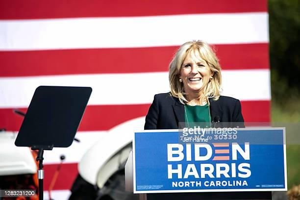 Dr. Jill Biden, wife of Democratic U.S. Presidential nominee Joe Biden, speaks on October 31, 2020 in Charlotte, North Carolina. She is in North...