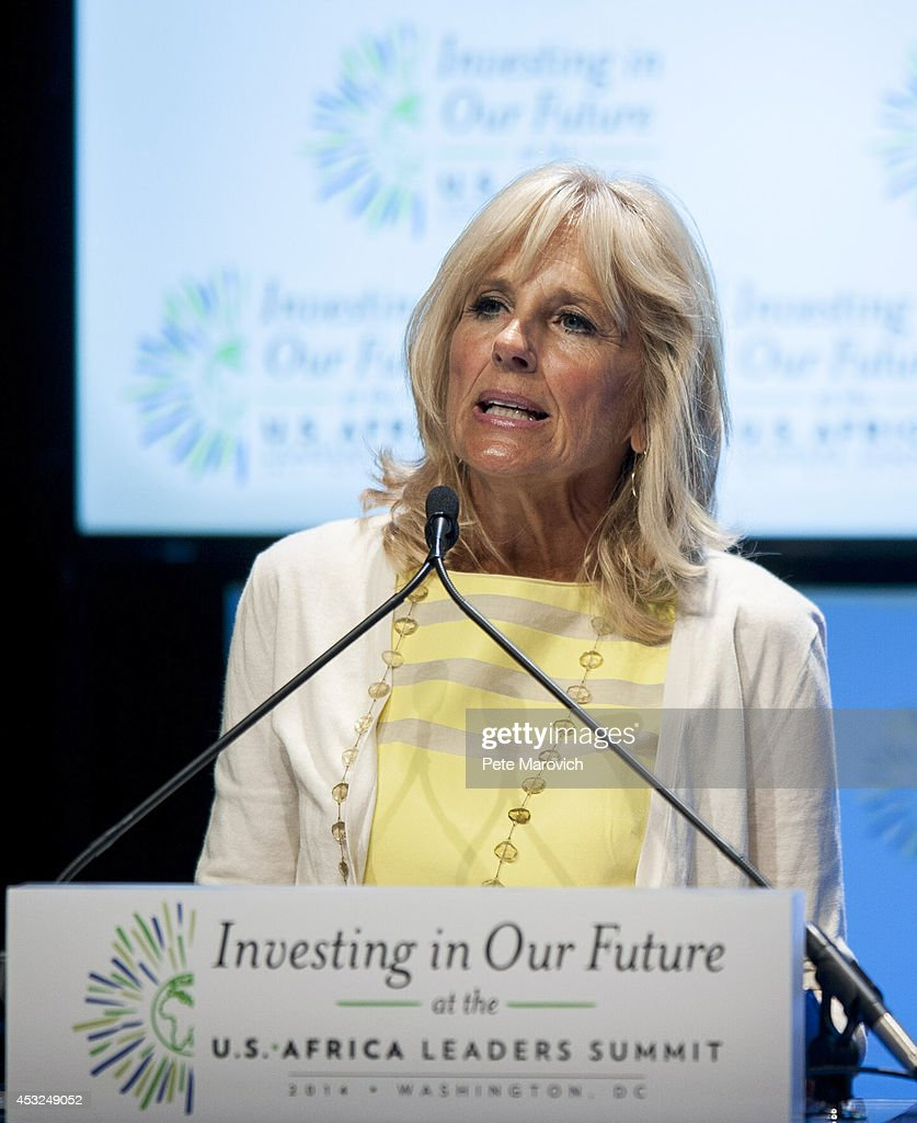 Dr. Jill Biden, wife of Vice President Joe Biden speaks at a Spousal Symposium at the John F. Kennedy Center for the Performing Arts on August 6, 2014 in Washington, DC. The symposium, sponsored by first lady Michelle Obama and former first lady Laura Bush, focuses on the role the spouses of world leader's play and the impact of investments in education, health, and economic development through public-private partnerships.