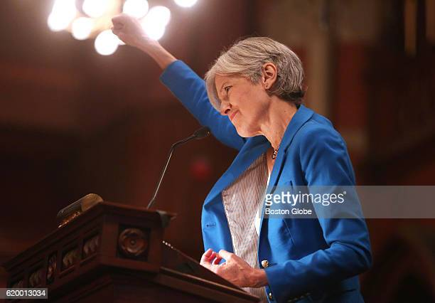 Dr Jill Stein Green Party presidential candidate speaks as a rally at Old South Church in Boston on Oct 30 2016