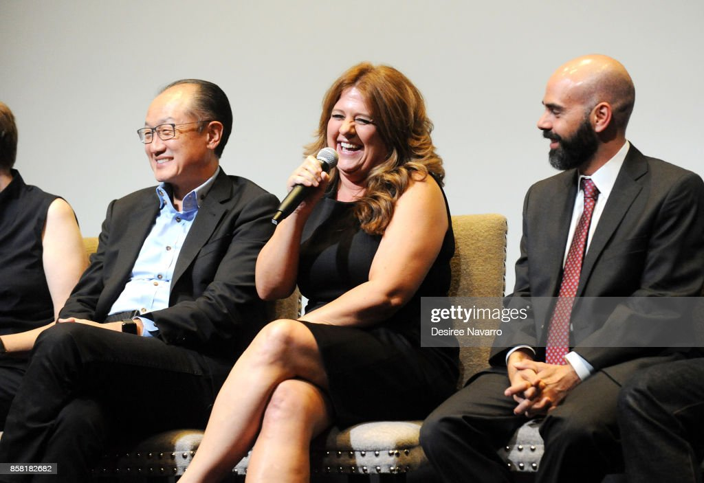 Dr. Jim Yong Kim, Cori Shepherd Stern and Pedro Kos attend 'Bending The Arc' New York Screening at the Whitby Hotel on October 5, 2017 in New York City.