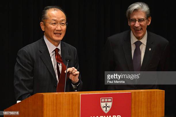 Dr Jim Yong Kim President of the World Bank Group receives the Centennial Award from Harvard School of Public Health Dean of Faculty Julio Frenk on...