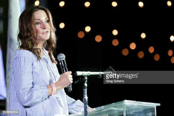 Dr. Jo Sornborger, Director Psychological Health Programs speaks on stage at the UCLA Operation Mend 10 Year Anniversary at the Home of Founder Ron...