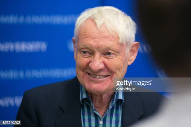 Dr Joachim Frank of Columbia University speaks during a press conference after being awarded the Nobel Prize in Chemistry on October 4 2017 in New...