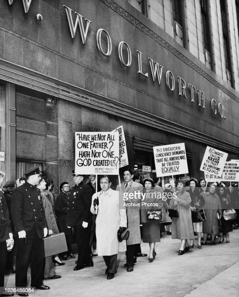 Dr Joachim Prinz , national President of the American Jewish Congress, leads a demonstration outside FW Woolworth Co on Fifth Avenue and 39th Street,...