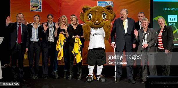 Dr Joachim Ruecker ambassador of Germany in Stockholm Segelone Valentin FIFA Media Steffi Jones Josefine Oqvist Annica Svensson players of Sweden...