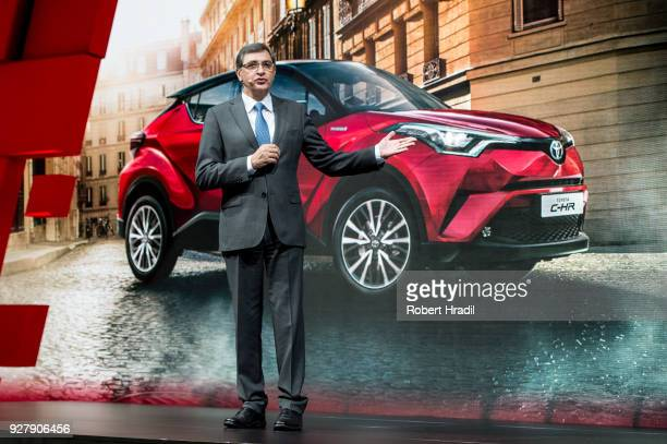 Dr Johan van Zyl President and CEO of Toyota Motor Europe gives a speech during the Press Conference at the 88th Geneva International Motor Show on...