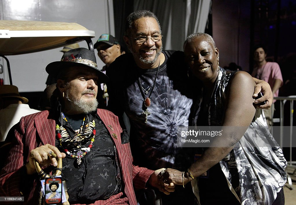 Dr. John (L) and George Porter, Jr. of The Original Meters (R) backstage during Bonnaroo 2011 on June 11, 2011 in Manchester, Tennessee.
