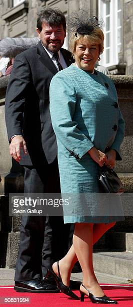 Dr John Donaldson and his wife British crime novelist Susan Moody arrive to the Danish parliament to attend a reception for Crown Prince Frederik and...
