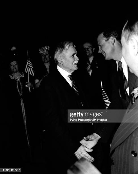 """Dr. John F. """"Jafsie"""" Condon and Charles Lindbergh the spokesperson for the America First Committee talk during the rally on October 30, 1941 at..."""