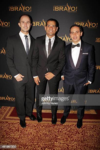 Dr John Mesa President of HPRA National Andy Checo and Gabriel RiveraBarraza attend the 2015 Bravo National Awards at The New York Palace Hotel on...