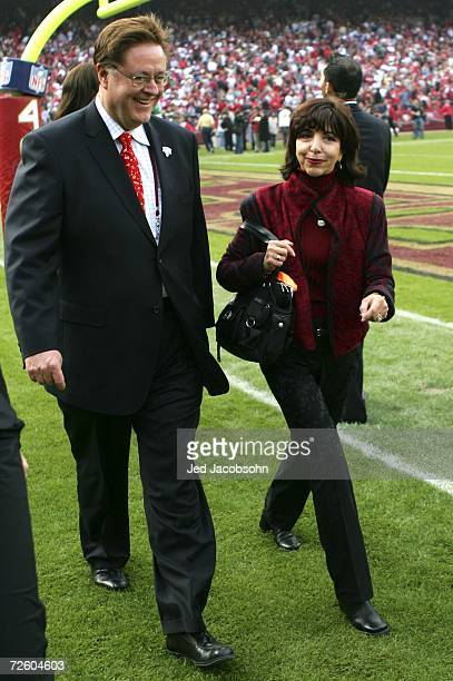 Dr John York and Denise DeBartolo York leave the ceremony held in Jerry Rice's honor during half time of the NFL game between the San Francisco 49ers...