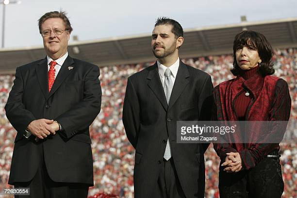 Dr John York Jed York and Denise DeBartolo York look on during a ceremony in Jerry Rice's honor at half time of the game between the Seattle Seahawks...