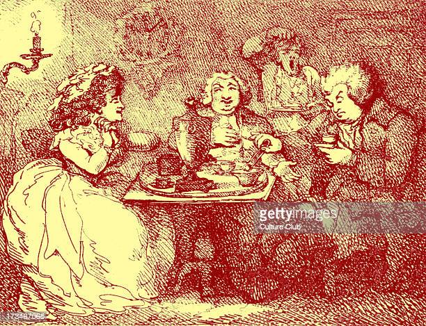'Dr Johnson takes tea at Boswell's House' caricature Published 1786 by Collings and Rowlandson Depicts Samuel Johnson 's famous visit to Scotland...