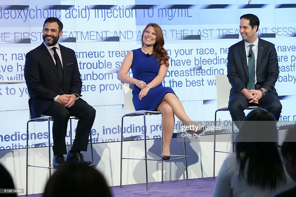 Dr. Joseph Cilona, Adra Fenstermaker and Dr. Robert Anolik launch KYBELLA campaign at IAC Building on March 3, 2016 in New York City.