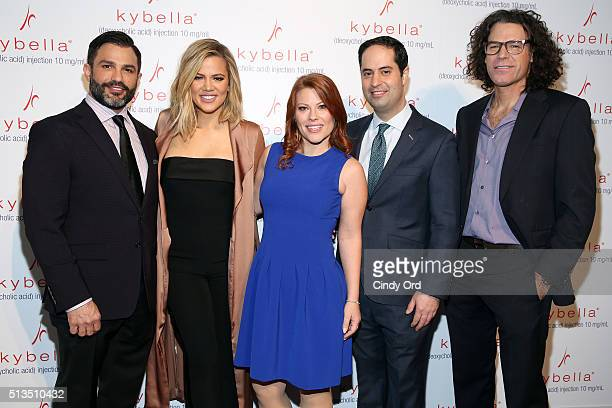 Dr Joseph Cilona Khloe Kardashian Adra Fenstermaker Dr Robert Anolik and photographer Peter Hurley launch KYBELLA campaign at IAC Building on March 3...