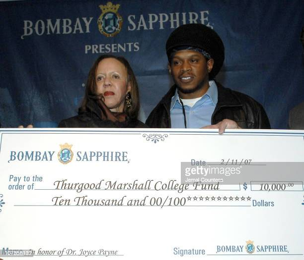 Dr Joyce Payne founder of the Thurgood Marshall College Fund with Sway after receiving a $10000 donation from Bombay Sapphire