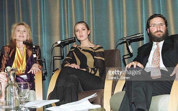 Dr Judy Kuriansky Playboy Playmate Lindsey Vuolo and Rabbi Shmuley Boteach debate pornography December 19 2001 at the Makor Cultural Center in New...