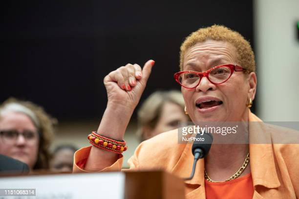 Dr. Julianne Malveaux, Economist and Political Commentator, testifies about reparations for the descendants of slaves during a hearing before the...