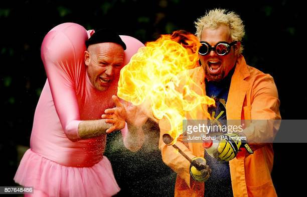 Dr Kaboom and Dado two performers from the upcoming AIB Street Performance World Championship perform their act in Woodquay Dublin today at the...
