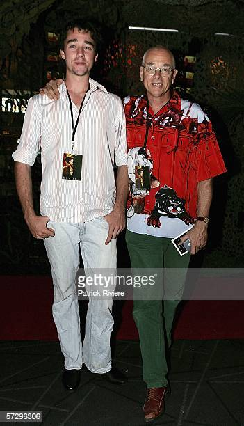 """Dr Karl Kruszelnicki and his son Karl attend the world premiere of """"Kokoda"""" at the Greater Union Cinema Bondi Junction on April 10, 2006 in Sydney,..."""