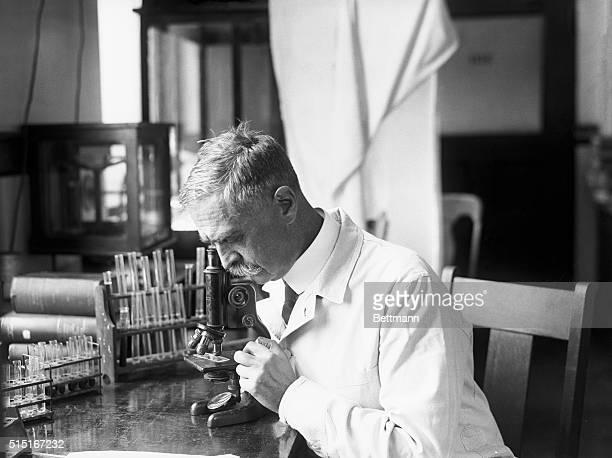 Dr. Karl Landsteiner, Austrian pathologist, sits in his laboratory looking into a microscope. Landsteiner won the 1930 Nobel Prize for Medicine for...