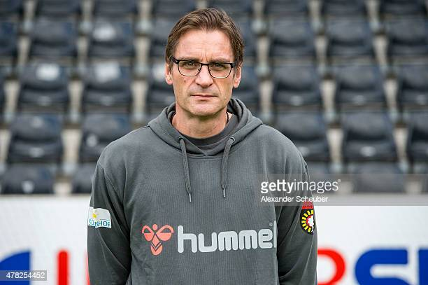 Dr Karsten Reichmann poses during the official team presentation of SG SonnenhofGrossaspach at mechatronik Arena on June 24 2015 in Grossaspach...