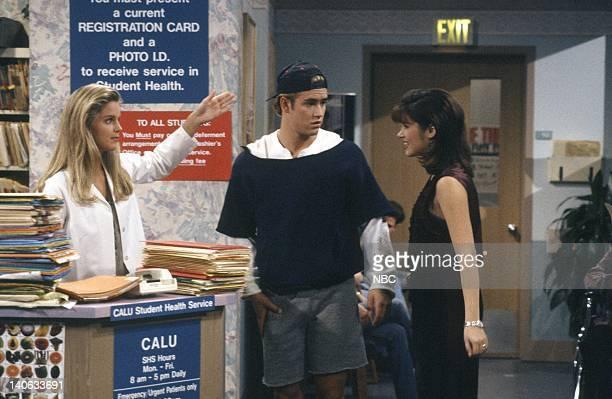YEARS 'Dr Kelly' Episode 10 Air Date Pictured Anne Tremko as Leslie Burke MarkPaul Gosselaar as Zack Morris Tiffani Thiessen as Kelly Kapowski Photo...