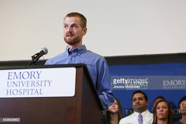 Dr Kent Brantly speaks during a press conference announcing his release from Emory Hospital on August 21 2014 in Atlanta Georgia Dr Brantly thanked...